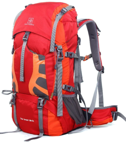 orange 55L hiking backpack