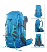 Blue 55L hiking backpack