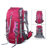 red 55L hiking backpack